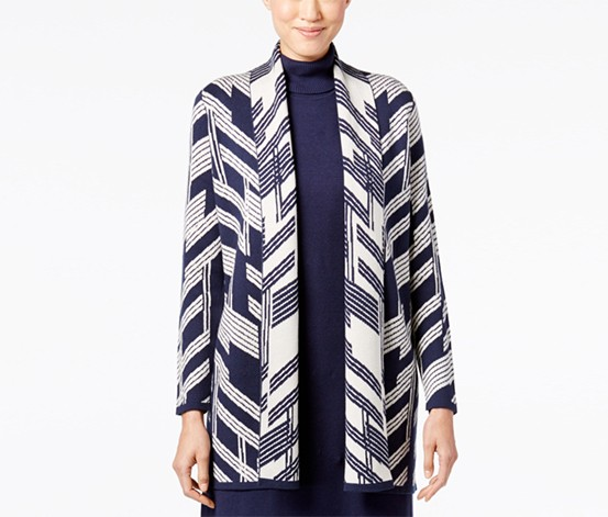Alfani Petite Patterned Open-Front Cardigan, Beige/Navy