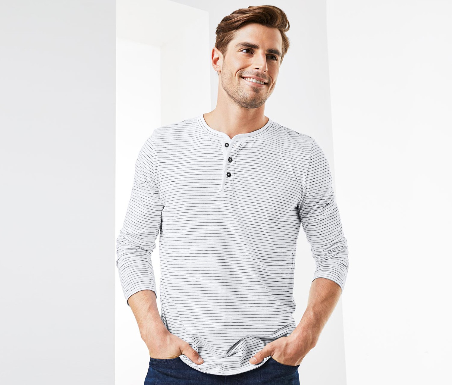 Men's Henley, White Striped