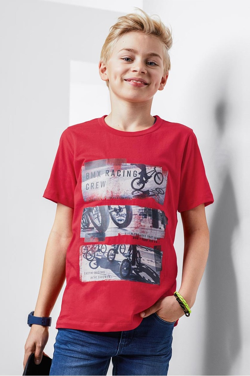 Boys Graphic Shirts, Red