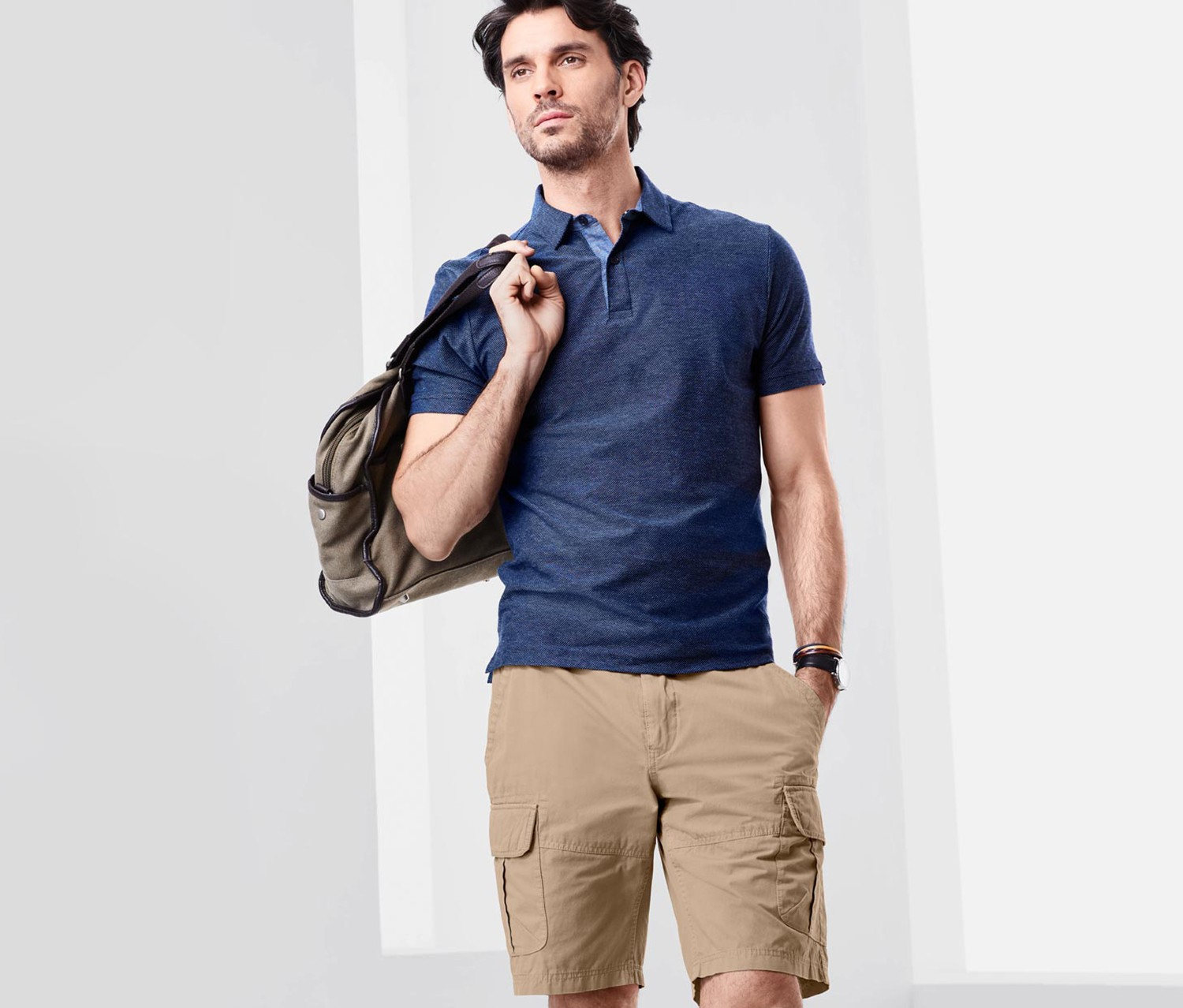 Men's Cargo Shorts, Beige