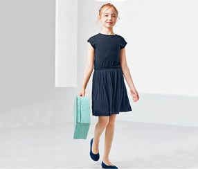 Girls Pleated Dress, Blue