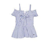 Bebe Kid's Stripe Dress, White/Blue