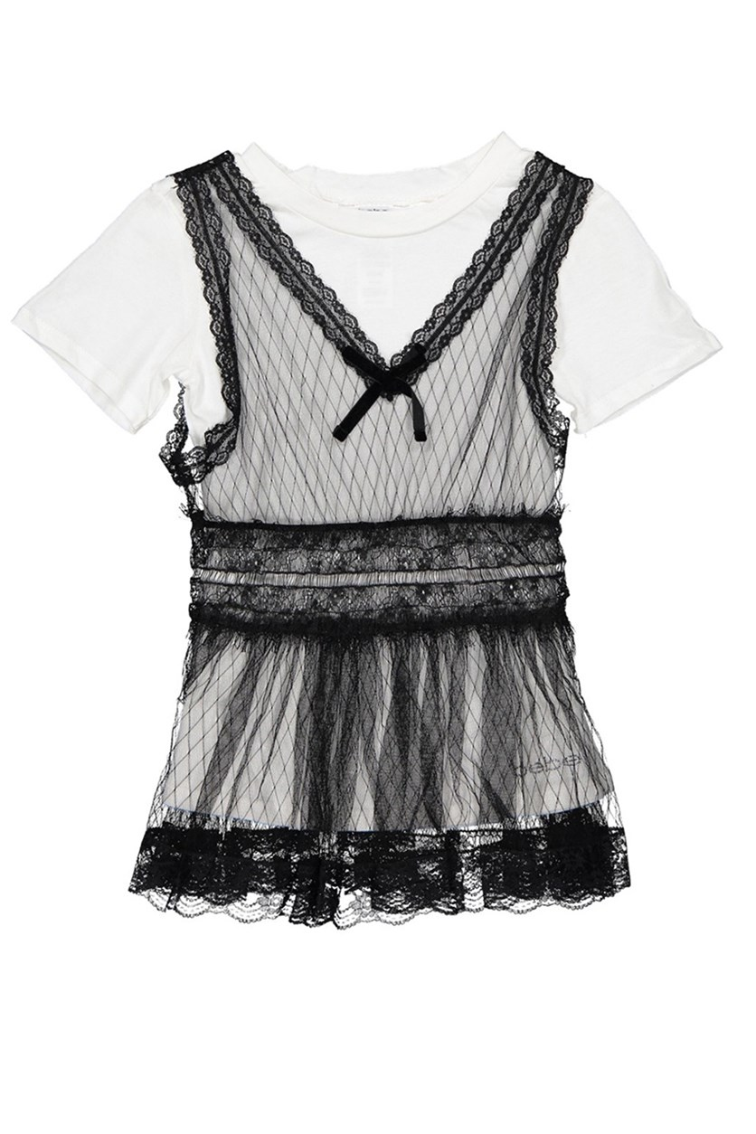 Kid's Girl Top with Lace Trim, Black/White