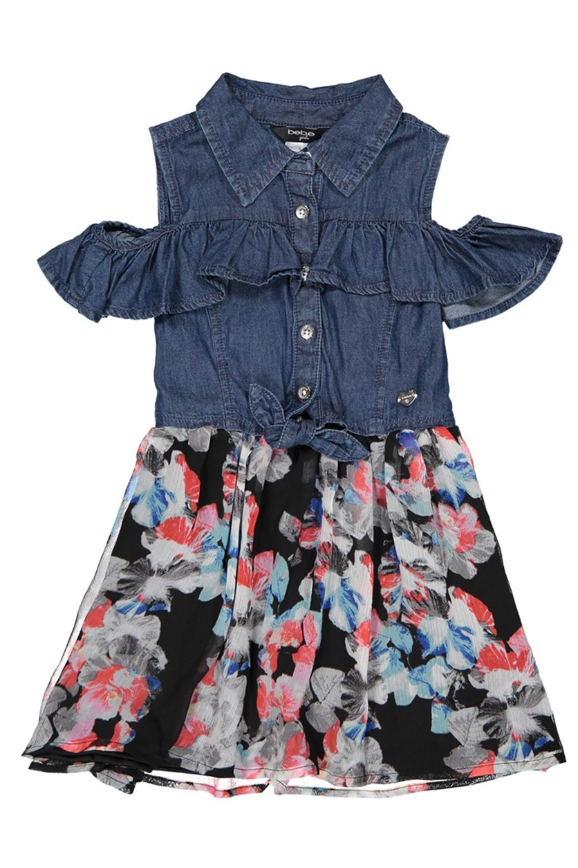 Kids Girl's Floral Print, Denim Combo