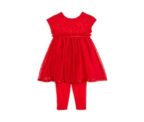 Pippa & Julie Infant Girls' Lace Dress & Leggings Set, Red