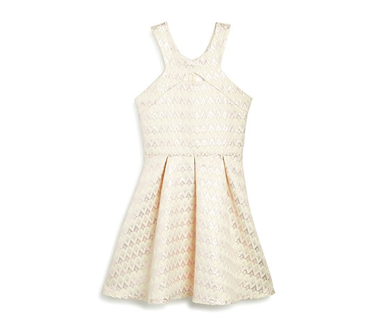 Sally Miller Girls' Shimmer Jacquard Dress, Off White