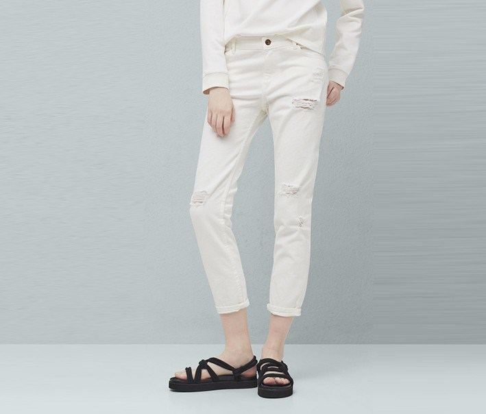 Relaxed Crop Nancy Jeans, White
