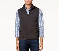 Tasso Elba Mens Quilted Sweater Vest, Onyx