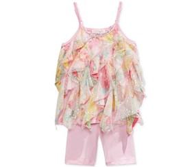 Baby Sara Girl's Ruffle Tunic & Leggings Set, Pink