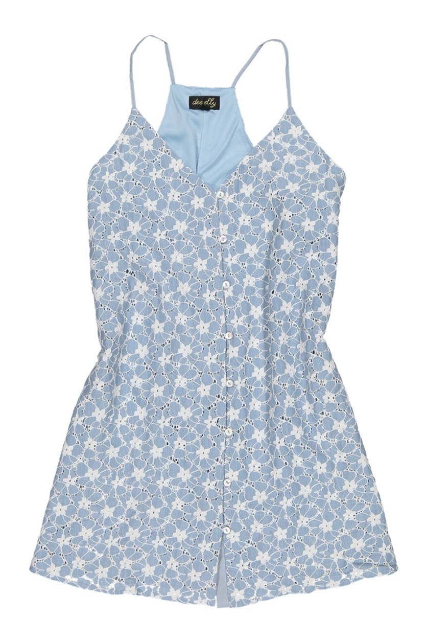 Women's Floral Pattern Dress, Light Blue