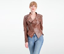 Love Tree Studded Moto Jacket, Brown