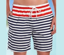 Rainforest Men's Modern Stripe Print Swim Short, White/Red/Blue