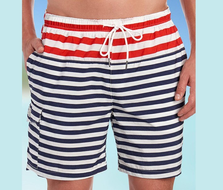 Men's Modern Stripe Print Swim Short, White/Red/Blue