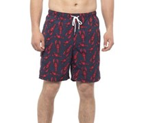 Rainforest Men's Lobster Print Swim Trunks, Navy/Red