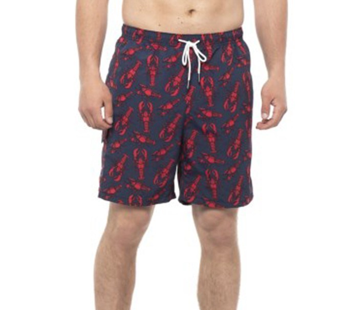 Men's Lobster Print Swim Trunks, Navy/Red