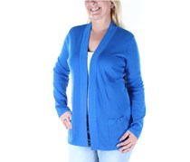 Anne Klein Women Pocketed Long Sleeve Open Cardigan, Blue