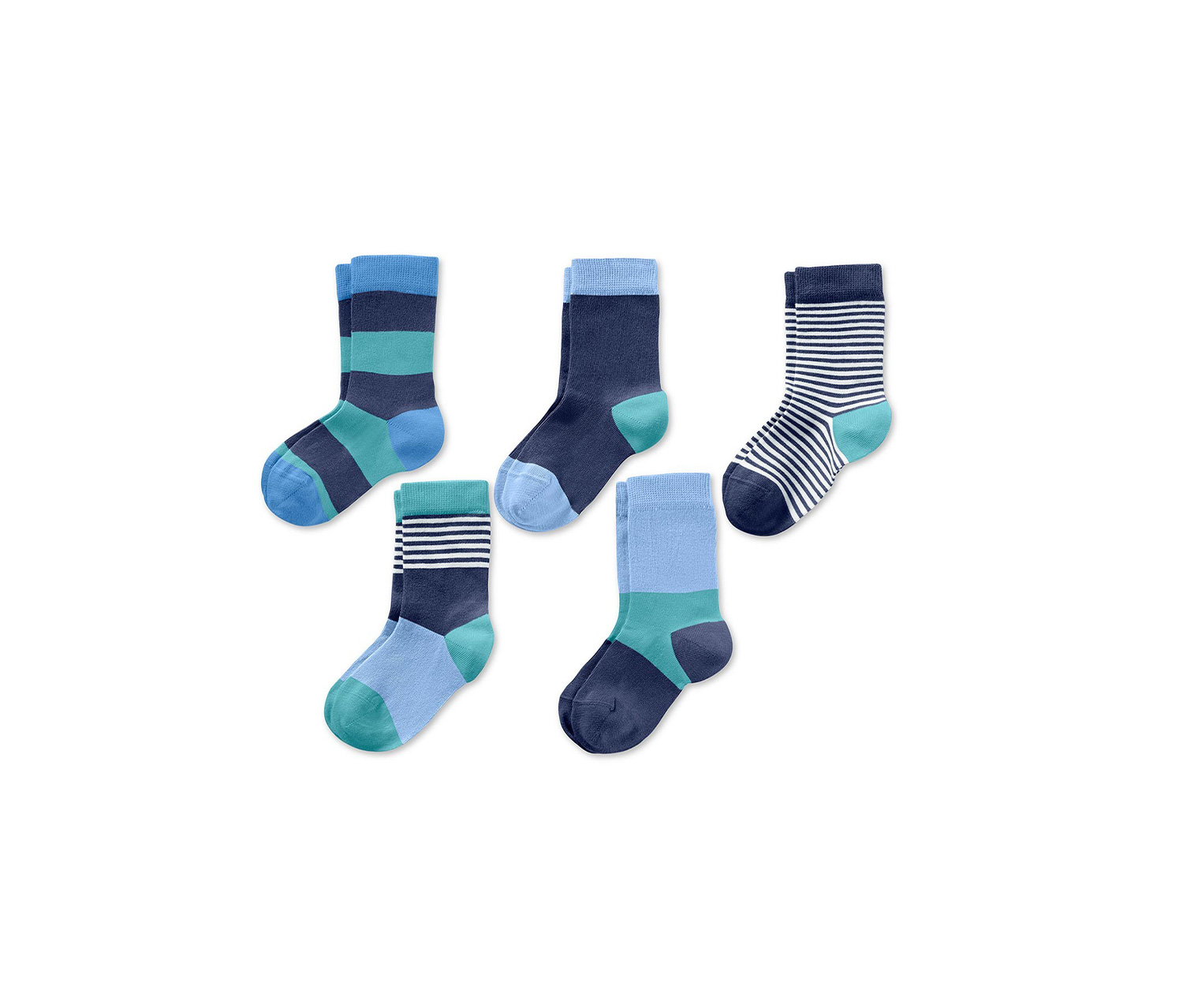 Toddler Boys Socks Set of 5, Blue/Green
