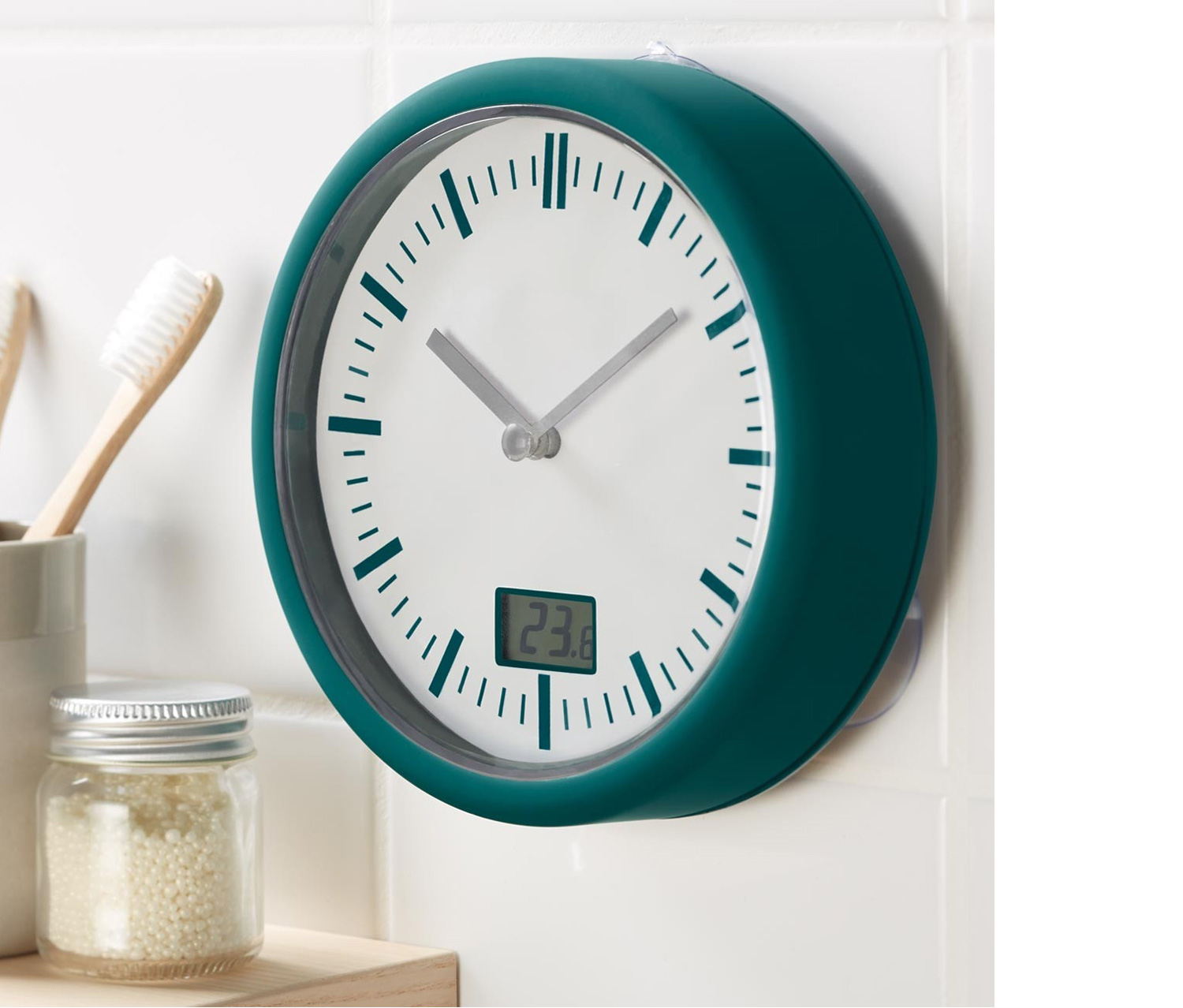 Bathroom Clock with Thermometer, Teal