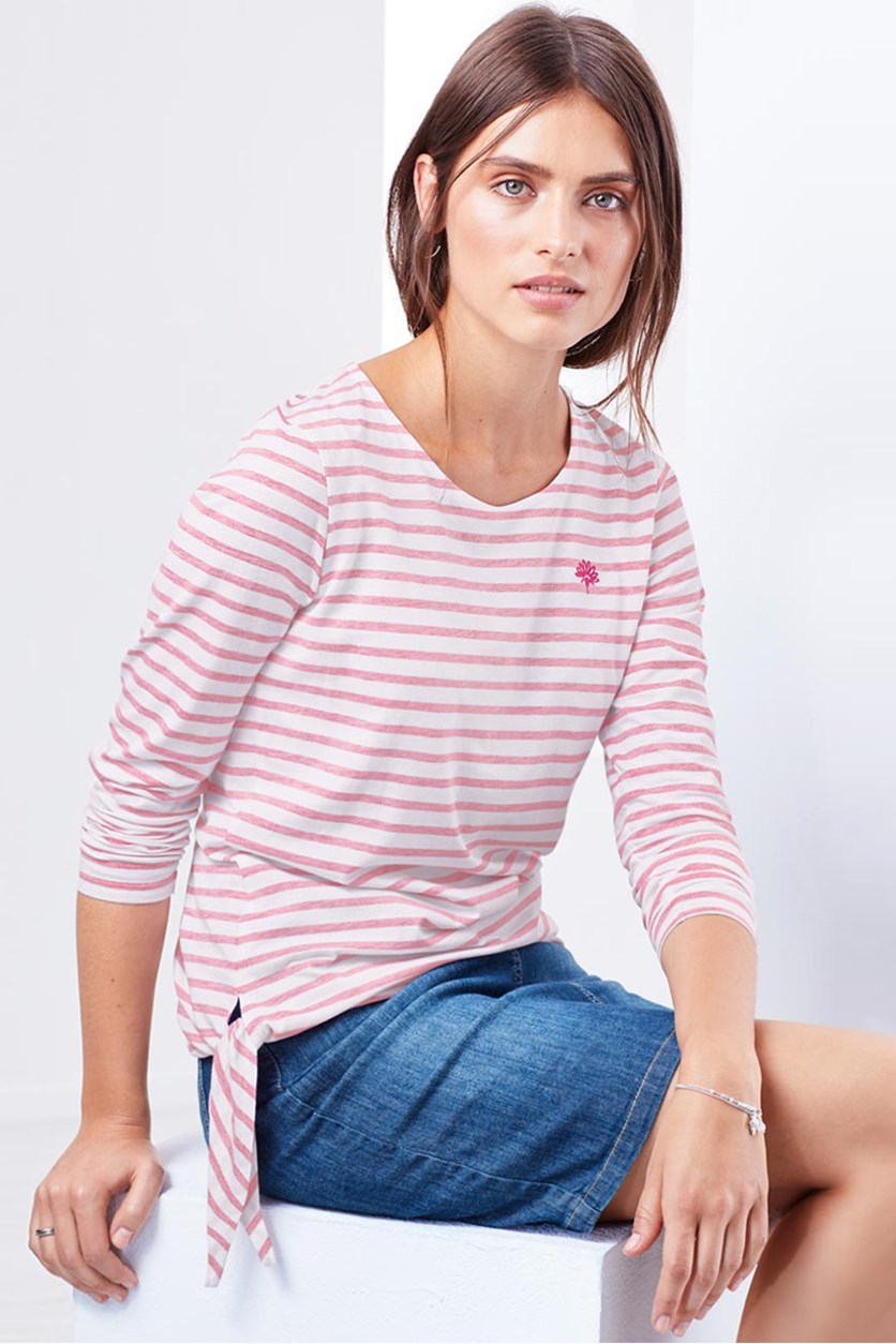 Women's Long Sleeve Shirt, Pink/White