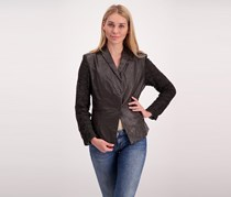 Coalition L.A Night Out Crochet Trim Jacket, Coffee