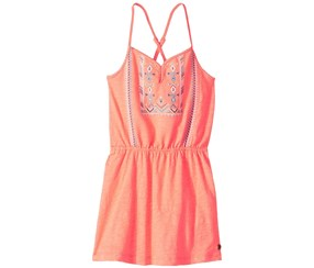 Roxy Girl's Nice Cream Embroidered Dress, Coral