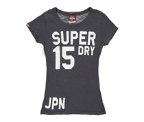 Superdry Women's Super 15 Dry Graphic Tee, Charcoal