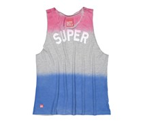 Superdry Women's Super Ombre Graphic Tank Tee, Pink/Gray/Blue