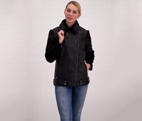 Nanette Lepore Women's Leather Jacket, Black