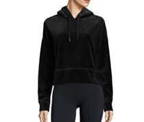 Calvin Klein Velour Performance Cropped Hoodie, Black