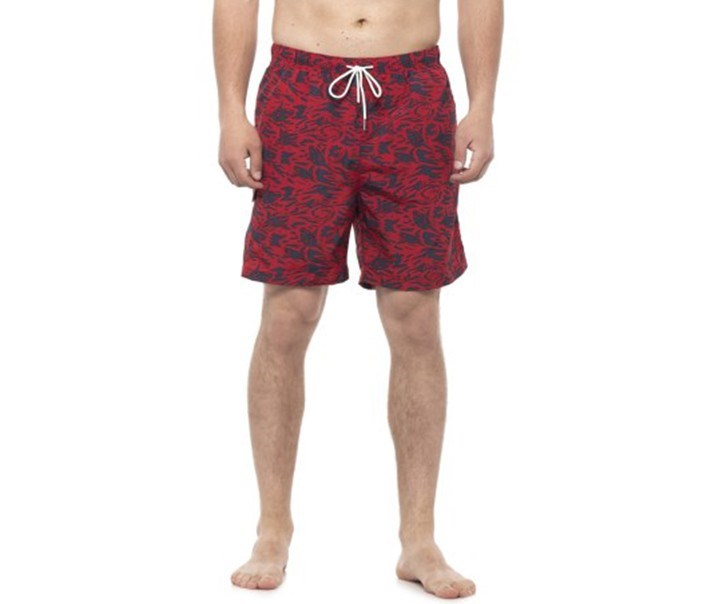 Men's Camo Shark Print Swim Short, Red