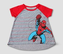 Marvel Toddler Girl's Spiderman T-Shirt, Grey