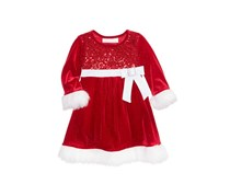 Bonnie Baby Baby Girls Velvet Santa Dress, Red