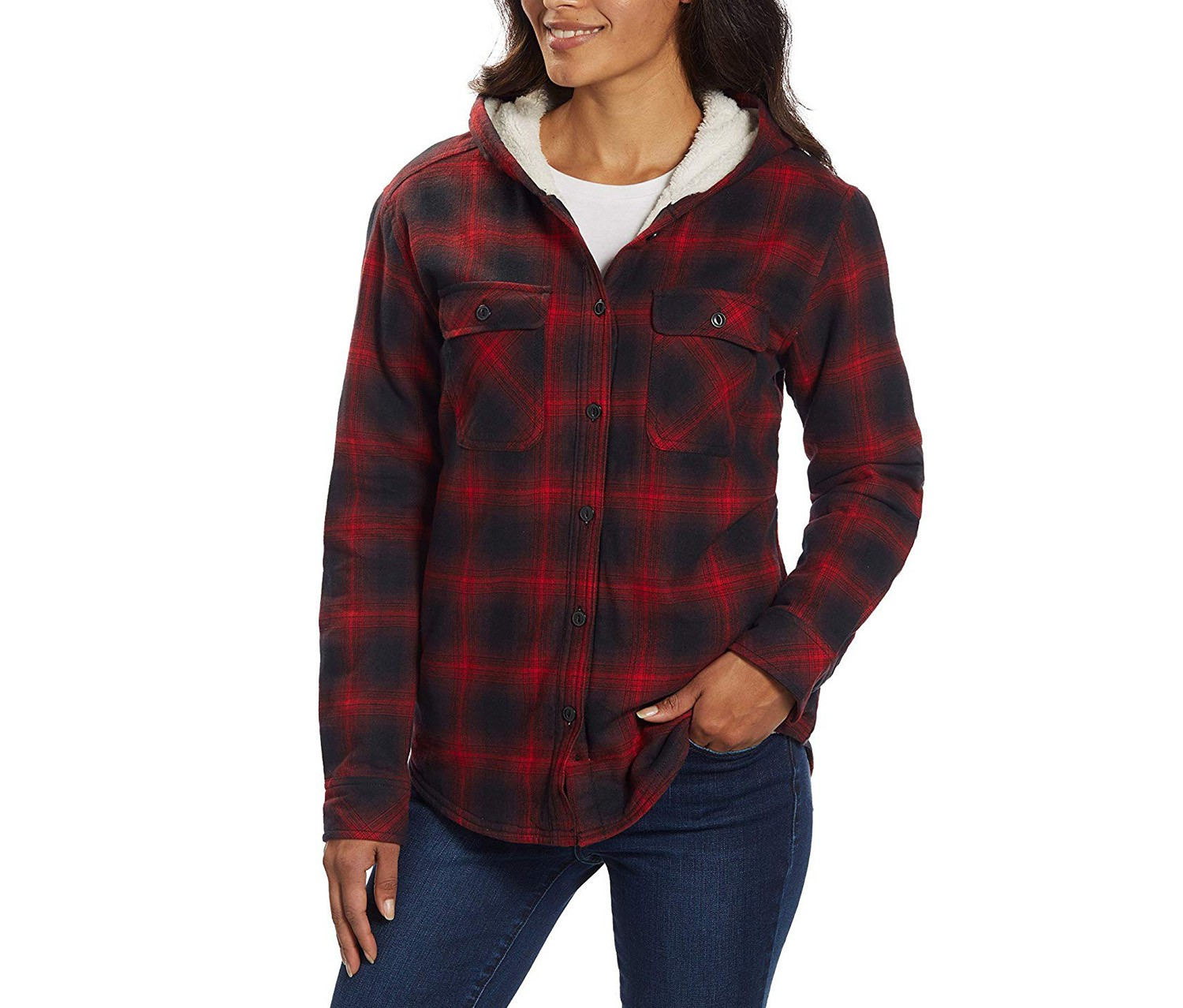 Boston Traders Women/'s Hooded Flannel Sherpa Button-Up Plaid Jacket *NEW*