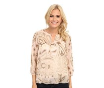Lucky Brand Women's Paisley Peasant Top, Tan
