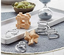 IQ Puzzle Set of 4, Natural/Silver