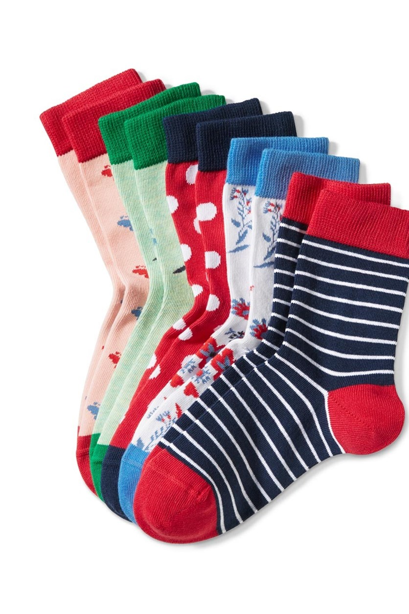 Girls Socks Set of 5, Red/Blue/Green