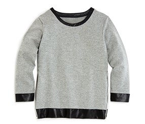 Aqua Girls' Faux Leather Trimmed French Terry Sweatshirt, Gray