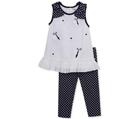 Rare Editions Girl's Set, Navy Blue/White