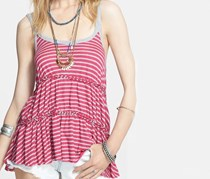 Free People Florence Striped Braided Tiered Tank Top, Fuchsia