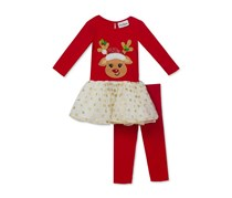 Rare Editions 2-Pc. Reindeer Tutu Tunic and Leggings Set, Red