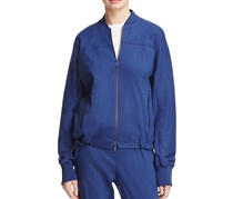 Women Pure Drawcord Hem Bomber Jacket, Navy
