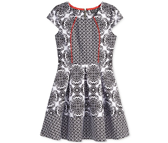 Sequin Hearts Girl's Contrast-Print Skater Dress, Black/White