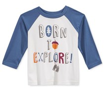 First Impressions Baby Boys Long-Sleeve Graphic Angel, White/Blue