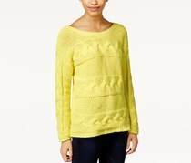 Bar III Women's Long-Sleeve Cable-Knit Sweater, Lime Green