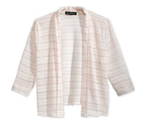 Sequin Hearts Girl's Metallic-Stripe Cardigan, White/Gold