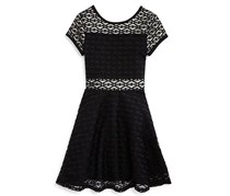 Sally Miller Girl's Geo Lace Dress, Black