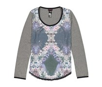 Custo Barcelona Women's Floral Print Sequin Top, Gray Combo
