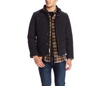 Kenneth Cole New York Chevron Puffer Down With Concealed Hood Jacket, Black