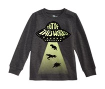 Little Boys Ufo Graphic-Print Shirt, Charcoal