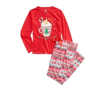 Max & Olivia 2-Pc. The Snuggle Is Real Pajama Set, Red Combo